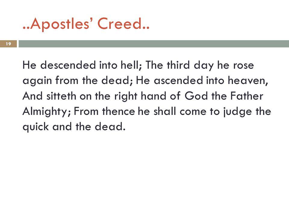 ..Apostles' Creed..