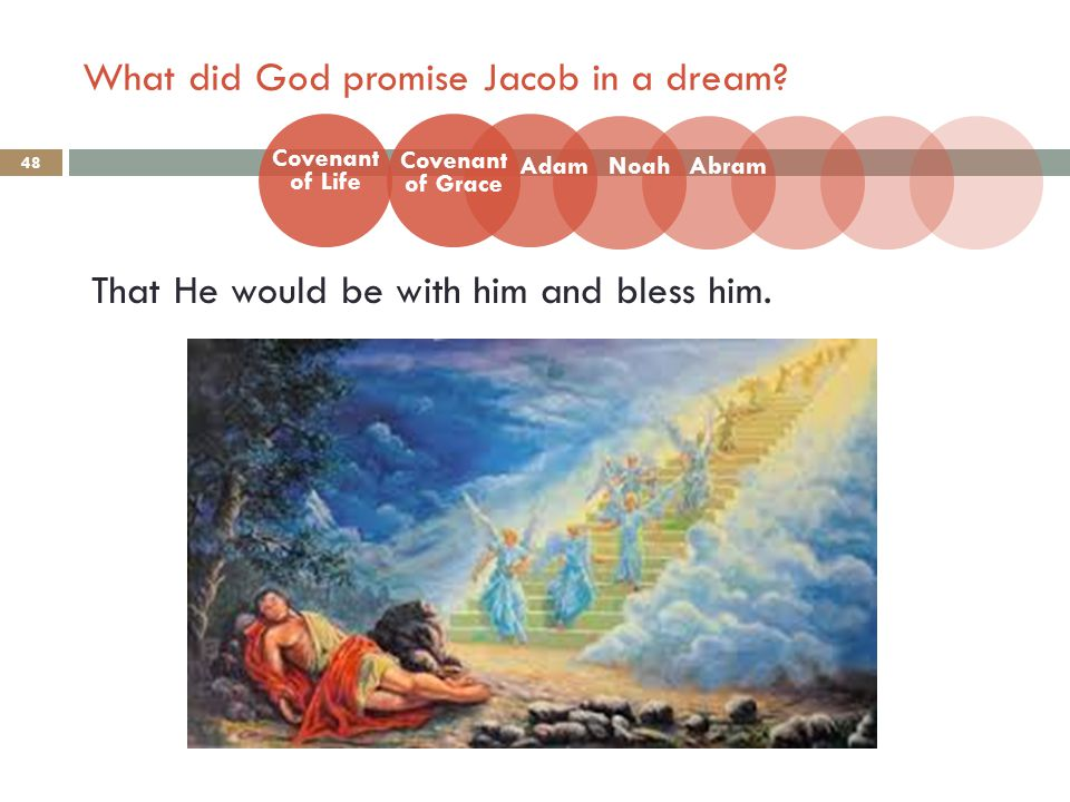 What did God promise Jacob in a dream. 48 That He would be with him and bless him.
