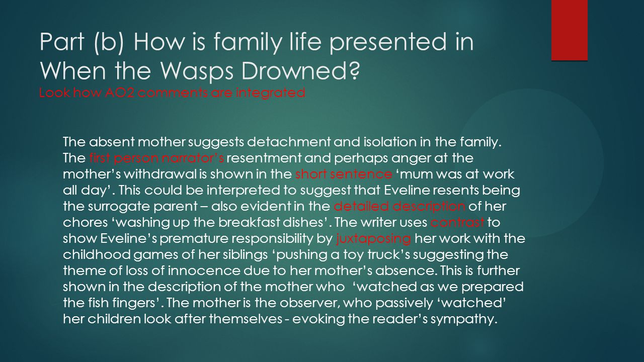 Part (b) How is family life presented in When the Wasps Drowned? Look how AO2 comments are integrated The absent mother suggests detachment and isolat
