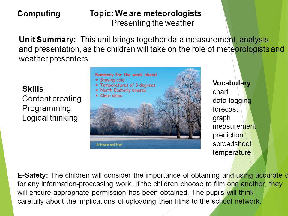 Skills Content creating Programming Logical thinking Vocabulary chart data-logging forecast graph measurement prediction spreadsheet temperature E-Saf