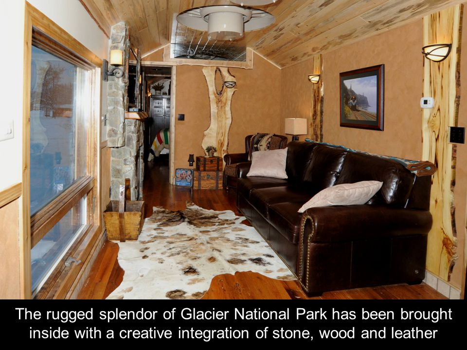 The rugged splendor of Glacier National Park has been brought inside with a creative integration of stone, wood and leather