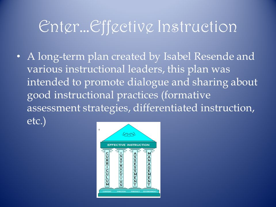 Enter…Effective Instruction A long-term plan created by Isabel Resende and various instructional leaders, this plan was intended to promote dialogue and sharing about good instructional practices (formative assessment strategies, differentiated instruction, etc.)