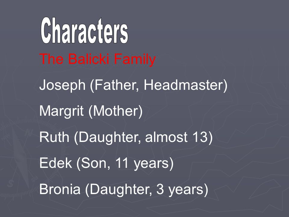The Balicki Family Joseph (Father, Headmaster) Margrit (Mother) Ruth (Daughter, almost 13) Edek (Son, 11 years) Bronia (Daughter, 3 years)