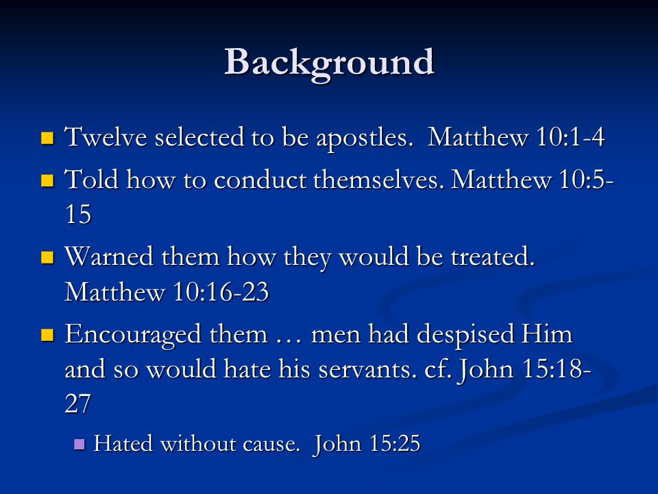 Background Twelve selected to be apostles. Matthew 10:1-4 Twelve selected to be apostles. Matthew 10:1-4 Told how to conduct themselves. Matthew 10:5-