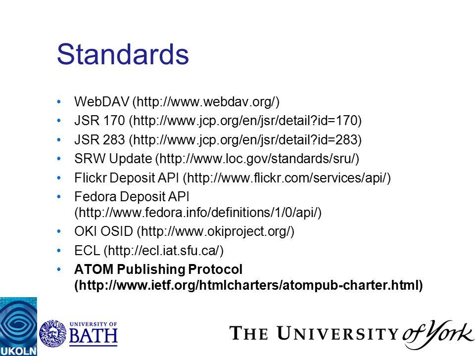 Standards WebDAV (http://www.webdav.org/) JSR 170 (http://www.jcp.org/en/jsr/detail id=170) JSR 283 (http://www.jcp.org/en/jsr/detail id=283) SRW Update (http://www.loc.gov/standards/sru/) Flickr Deposit API (http://www.flickr.com/services/api/) Fedora Deposit API (http://www.fedora.info/definitions/1/0/api/) OKI OSID (http://www.okiproject.org/) ECL (http://ecl.iat.sfu.ca/) ATOM Publishing Protocol (http://www.ietf.org/htmlcharters/atompub-charter.html)