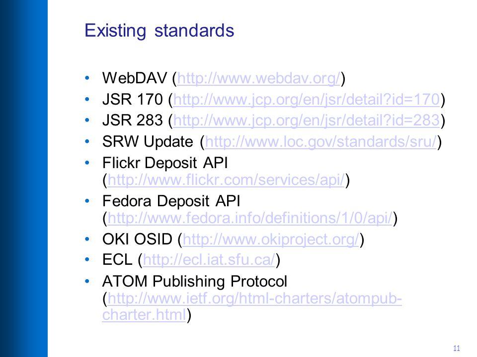 11 Existing standards WebDAV (http://www.webdav.org/)http://www.webdav.org/ JSR 170 (http://www.jcp.org/en/jsr/detail id=170)http://www.jcp.org/en/jsr/detail id=170 JSR 283 (http://www.jcp.org/en/jsr/detail id=283)http://www.jcp.org/en/jsr/detail id=283 SRW Update (http://www.loc.gov/standards/sru/)http://www.loc.gov/standards/sru/ Flickr Deposit API (http://www.flickr.com/services/api/)http://www.flickr.com/services/api/ Fedora Deposit API (http://www.fedora.info/definitions/1/0/api/)http://www.fedora.info/definitions/1/0/api/ OKI OSID (http://www.okiproject.org/)http://www.okiproject.org/ ECL (http://ecl.iat.sfu.ca/)http://ecl.iat.sfu.ca/ ATOM Publishing Protocol (http://www.ietf.org/html-charters/atompub- charter.html)http://www.ietf.org/html-charters/atompub- charter.html