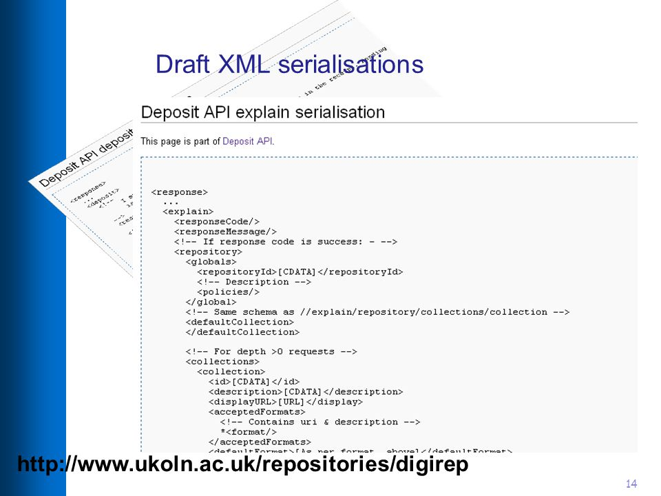 14 Draft XML serialisations http://www.ukoln.ac.uk/repositories/digirep