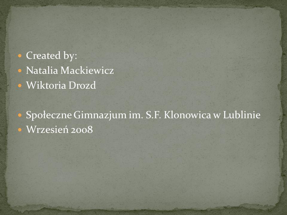 Created by: Natalia Mackiewicz Wiktoria Drozd Społeczne Gimnazjum im.