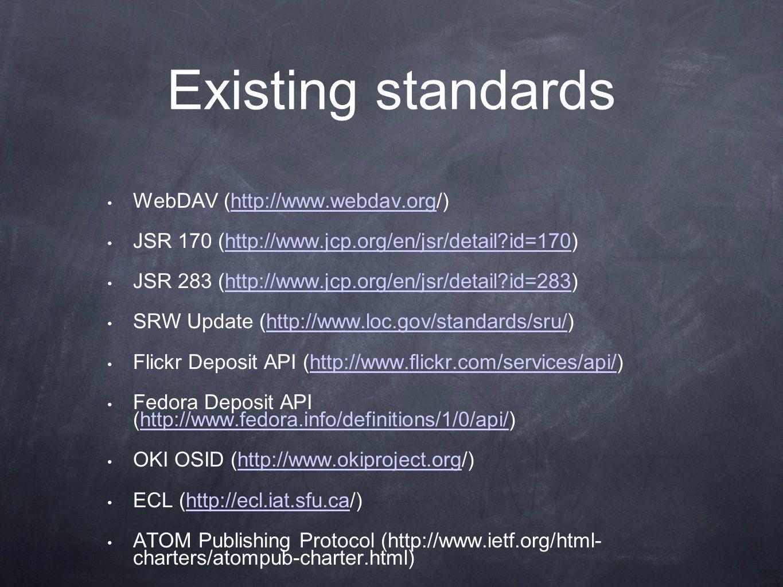 Existing standards WebDAV (http://www.webdav.org/)http://www.webdav.org JSR 170 (http://www.jcp.org/en/jsr/detail id=170)http://www.jcp.org/en/jsr/detail id=170 JSR 283 (http://www.jcp.org/en/jsr/detail id=283)http://www.jcp.org/en/jsr/detail id=283 SRW Update (http://www.loc.gov/standards/sru/)http://www.loc.gov/standards/sru/ Flickr Deposit API (http://www.flickr.com/services/api/)http://www.flickr.com/services/api/ Fedora Deposit API (http://www.fedora.info/definitions/1/0/api/)http://www.fedora.info/definitions/1/0/api/ OKI OSID (http://www.okiproject.org/)http://www.okiproject.org ECL (http://ecl.iat.sfu.ca/)http://ecl.iat.sfu.ca ATOM Publishing Protocol (http://www.ietf.org/html- charters/atompub-charter.html)