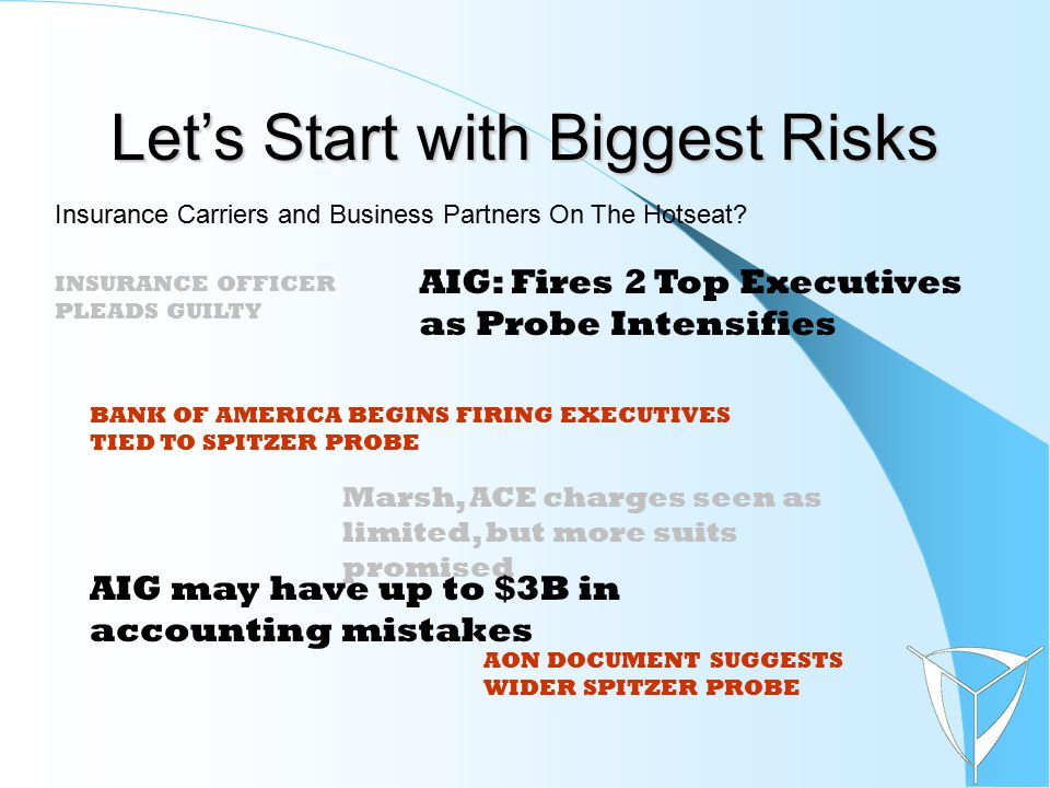 Let's Start with Biggest Risks Marsh, ACE charges seen as limited, but more suits promised AIG: Fires 2 Top Executives as Probe Intensifies Insurance Carriers and Business Partners On The Hotseat.