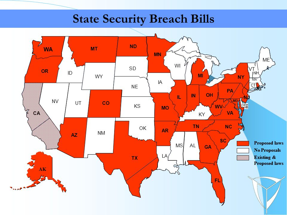 State Security Breach Bills AL MS LA FL TX OK GA SC NC TN KY MO KS IL AR IN OH WV VA PA MI WI MN IA NY ME NH VT MA NJ CT RI DE MD NE SD ND MT WY CO NM AZ UT NV OR ID WA CA * SD AL MS LA FL TX OK GA SC NC TN KY MO KS IL AR IN OH WV VA PA MI WI MN IA NY ME NH VT MA NJ CT RI DE MD NE SD ND MT WY CO NM AZ UT NV ID CA SD WA OR Proposed laws No Proposals Existing & Proposed laws AK AL MS LA FL TX OK GA SC NC TN KY MO KS IL AR IN OH WV VA PA MI WI MN IA NY ME NH VT MA NJ CT RI DE MD NE SD ND MT WY CO NM AZ UT NV OR ID WA CA * SD ALMS LA FL TX OK GA SC NC TN KY MO KS IL AR IN OH WV VA PA MI WI MN IA NY ME NH VT MA NJ CT RI DE MD NE SD ND MT WY CO NM AZ UT NV ID CA SD WA OR Proposed laws No Proposals Existing & Proposed laws AK