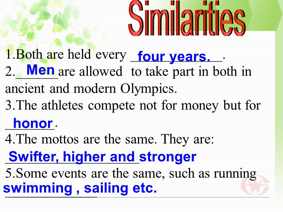 What are the differences and similarities about the ancient and modern Olympics? What are the differences and similarities about the ancient and moder