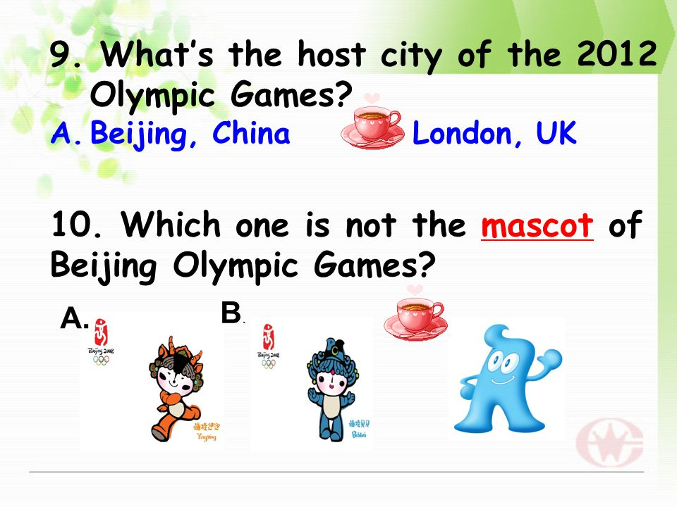 7. Who was China's first gold medal winner and for what event? A.Xu Haifeng; shooting B.Deng Yaping ; table tennis 8. What's the host city of the firs