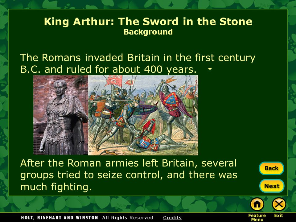 King Arthur: The Sword in the Stone Background England changed hands many times during its early history. Its earliest inhabitants were called Iberian