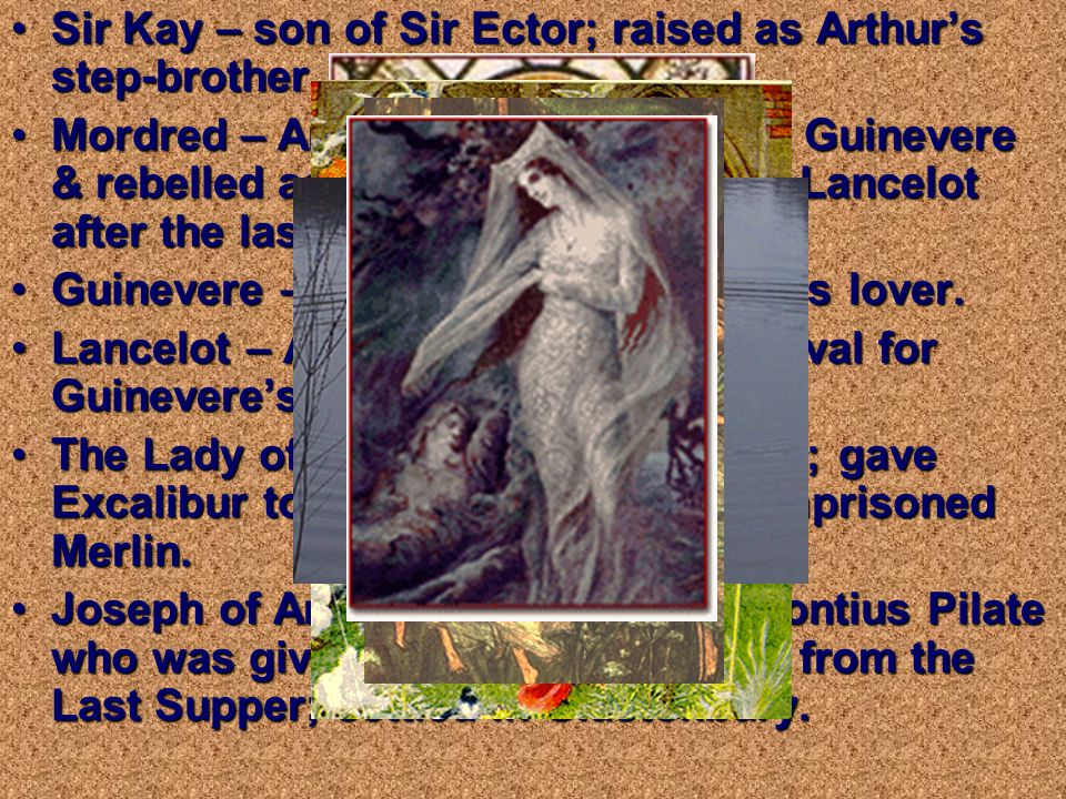 IMPORTANT CHARACTERS Uther Pendragon – Arthur's biological father.Uther Pendragon – Arthur's biological father.