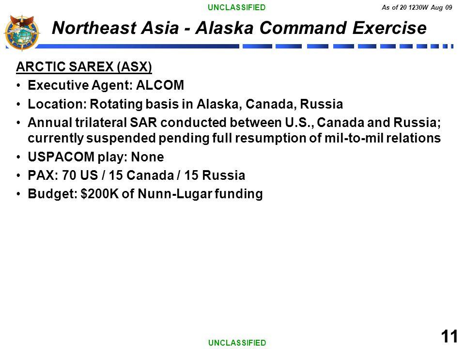 UNCLASSIFIED As of 20 1230W Aug 09 11 UNCLASSIFIED Northeast Asia - Alaska Command Exercise ARCTIC SAREX (ASX) Executive Agent: ALCOM Location: Rotati