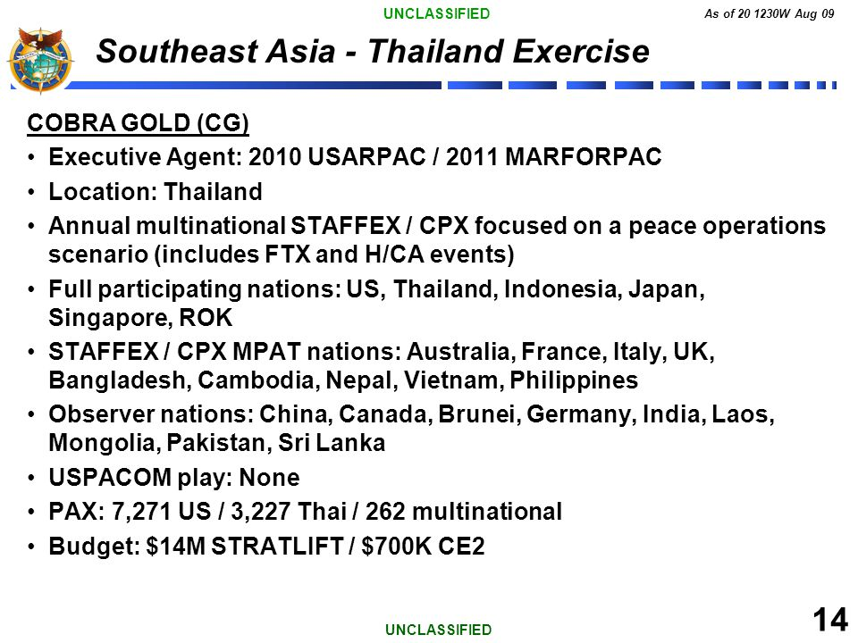 UNCLASSIFIED As of 20 1230W Aug 09 14 UNCLASSIFIED Southeast Asia - Thailand Exercise COBRA GOLD (CG) Executive Agent: 2010 USARPAC / 2011 MARFORPAC L
