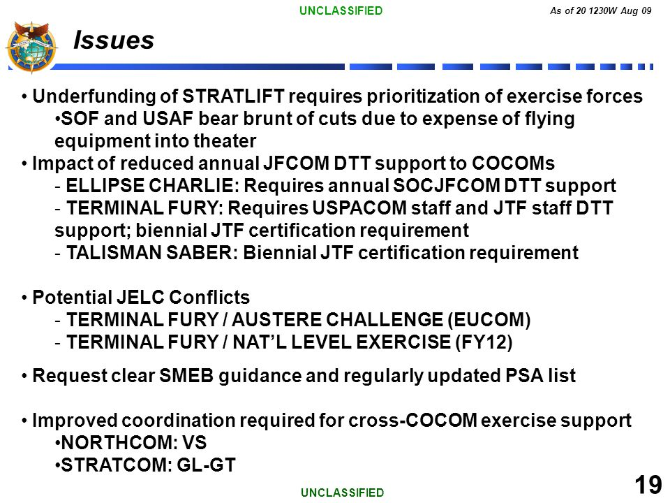 UNCLASSIFIED As of 20 1230W Aug 09 19 UNCLASSIFIED Issues Underfunding of STRATLIFT requires prioritization of exercise forces SOF and USAF bear brunt