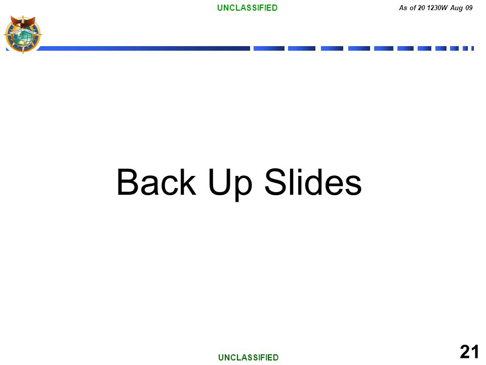 UNCLASSIFIED As of 20 1230W Aug 09 21 UNCLASSIFIED Back Up Slides