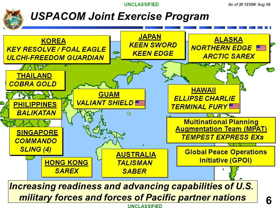 UNCLASSIFIED As of 20 1230W Aug 09 6 UNCLASSIFIED JAPAN KEEN SWORD KEEN EDGE JAPAN KEEN SWORD KEEN EDGE ALASKA NORTHERN EDGE ARCTIC SAREX ALASKA NORTH
