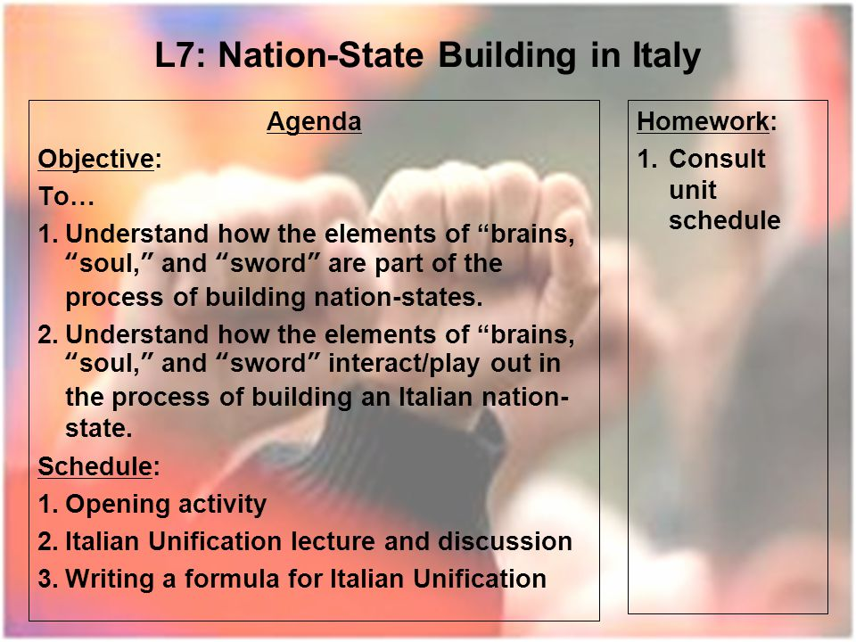 L7: Nation-State Building in Italy Agenda Objective: To… 1.Understand how the elements of brains, soul, and sword are part of the process of building nation-states.