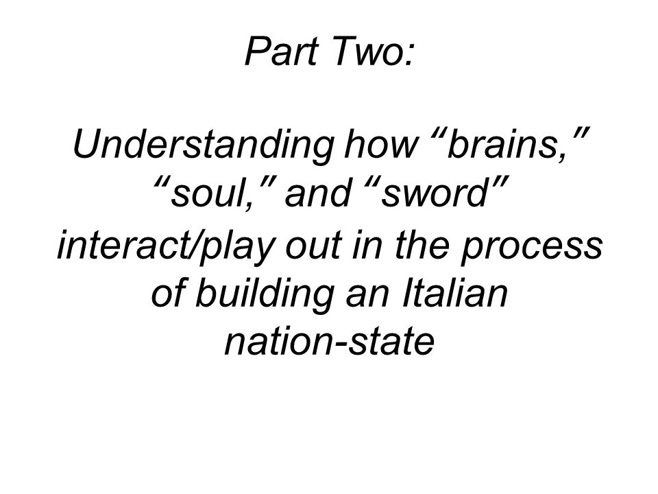 Part Two: Understanding how brains, soul, and sword interact/play out in the process of building an Italian nation-state