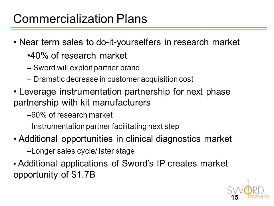 Commercialization Plans 15 Near term sales to do-it-yourselfers in research market 40% of research market – Sword will exploit partner brand – Dramati