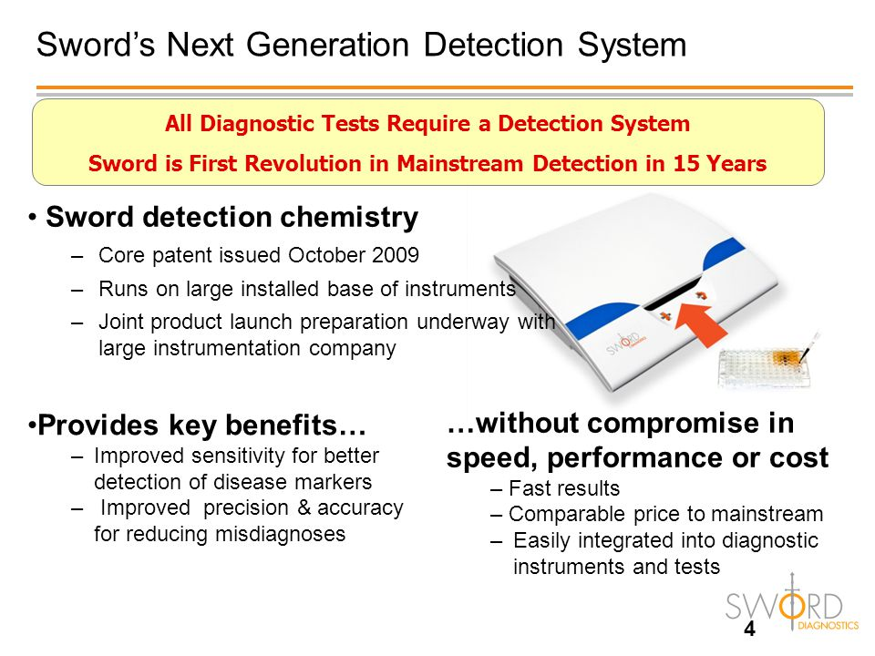 Benefits of Sword Detection are Very Important to Researchers *Biocompare Researcher Survey -2008 Sword Detection improves many features of greatest importance to researchers without sacrificing other attributes PERFORMANCE WITHOUT COMPROMISE *
