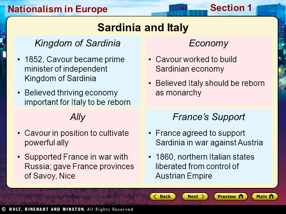 Nationalism in Europe Section 1 Kingdom of Sardinia 1852, Cavour became prime minister of independent Kingdom of Sardinia Believed thriving economy important for Italy to be reborn Ally Cavour in position to cultivate powerful ally Supported France in war with Russia; gave France provinces of Savoy, Nice Economy Cavour worked to build Sardinian economy Believed Italy should be reborn as monarchy France's Support France agreed to support Sardinia in war against Austria 1860, northern Italian states liberated from control of Austrian Empire Sardinia and Italy