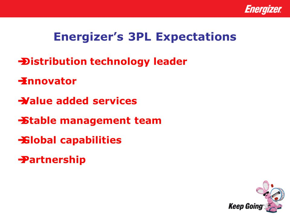 Energizer's 3PL Expectations  Distribution technology leader  Innovator  Value added services  Stable management team  Global capabilities  Part