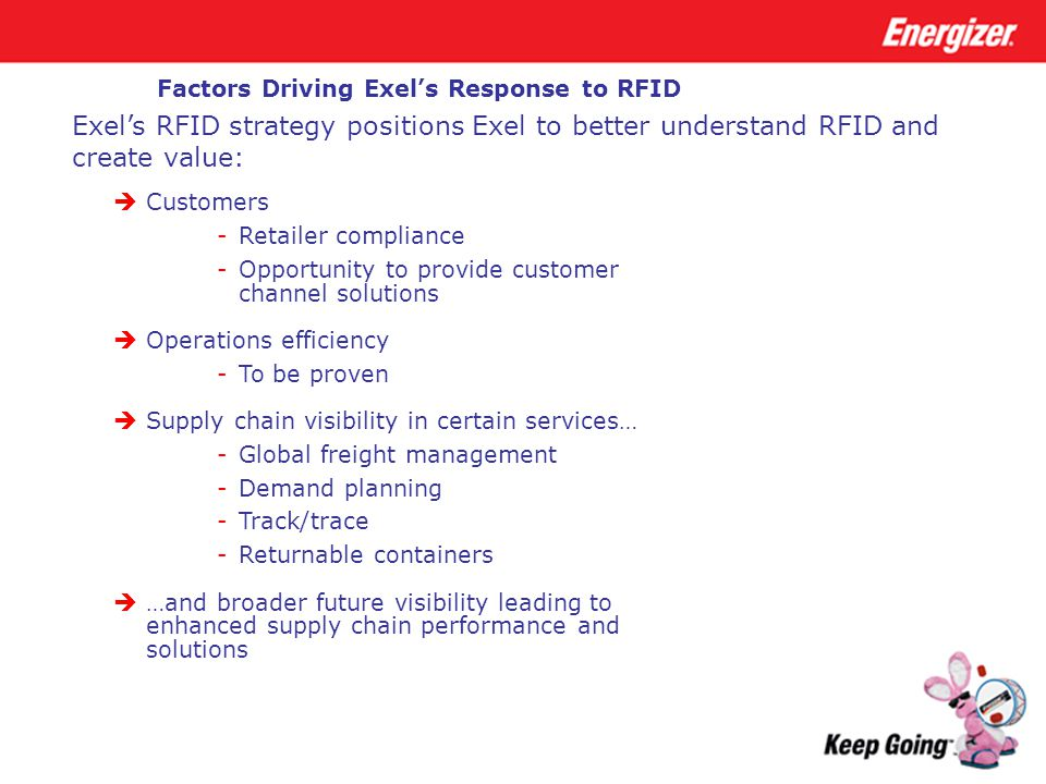 Factors Driving Exel's Response to RFID  Customers -Retailer compliance -Opportunity to provide customer channel solutions  Operations efficiency -T