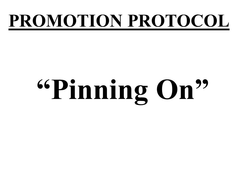 PROMOTION PROTOCOL Pinning On