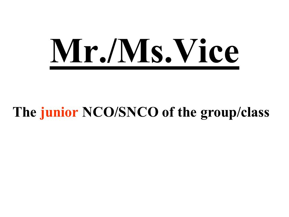 Mr./Ms.Vice The junior NCO/SNCO of the group/class