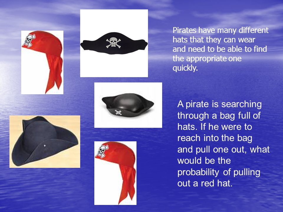A pirate is searching through a bag full of hats.