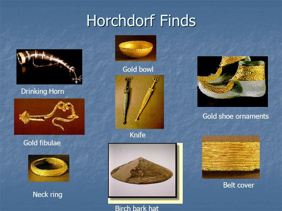 Horchdorf Finds Drinking Horn Gold fibulae Gold shoe ornaments Gold bowl Knife Belt cover Neck ring Birch bark hat