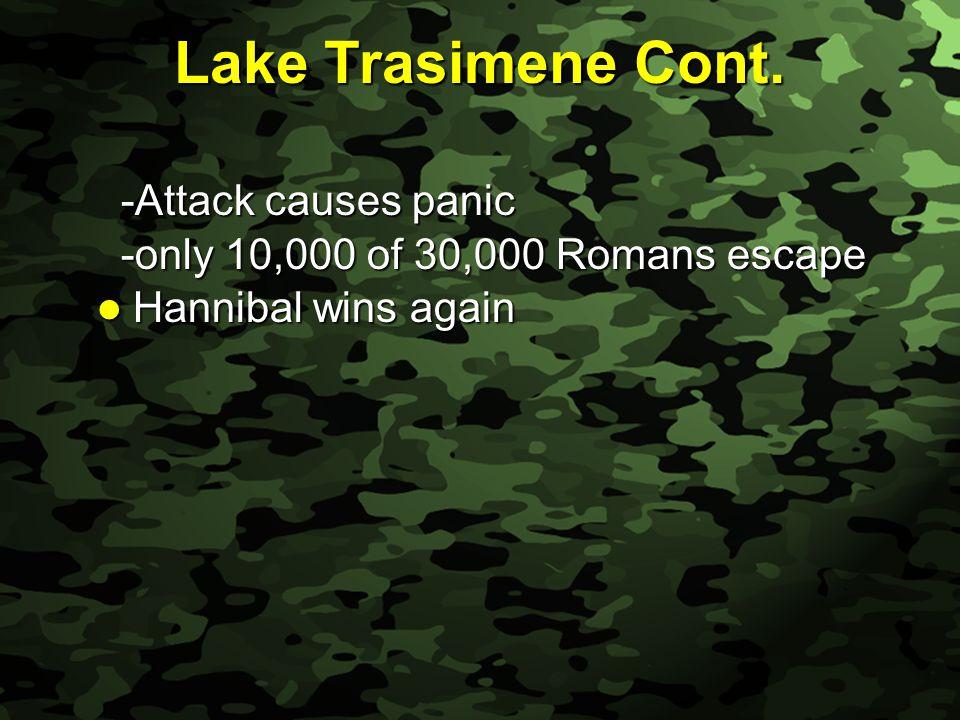 Slide 23 Lake Trasimene Cont. -Attack causes panic -Attack causes panic -only 10,000 of 30,000 Romans escape -only 10,000 of 30,000 Romans escape Hann