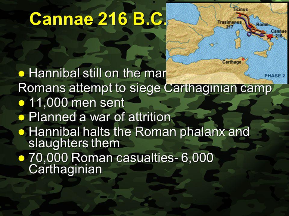 Slide 25 Cannae 216 B.C. Hannibal still on the march Hannibal still on the march Romans attempt to siege Carthaginian camp 11,000 men sent 11,000 men
