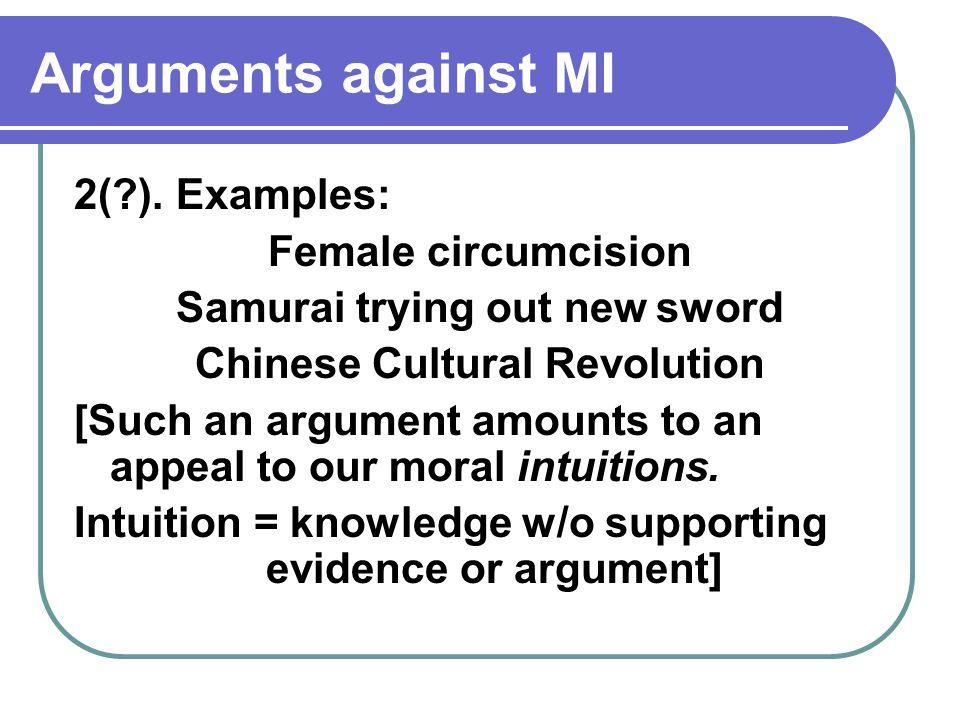 Arguments against MI 2( ).