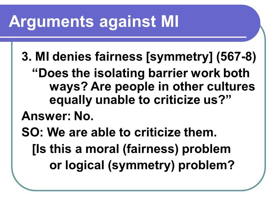 Arguments against MI 3.