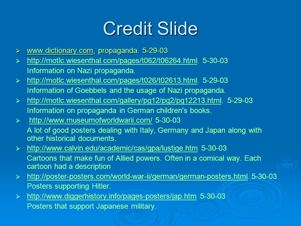 Credit Slide  www.dictionary.com, propaganda.