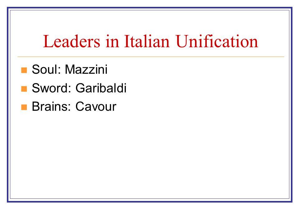 Leaders in Italian Unification Soul: Mazzini Sword: Garibaldi Brains: Cavour
