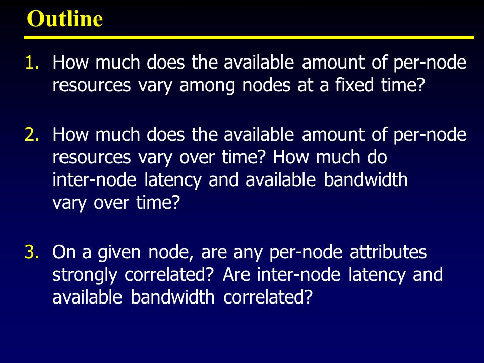 Outline 1.How much does the available amount of per-node resources vary among nodes at a fixed time.