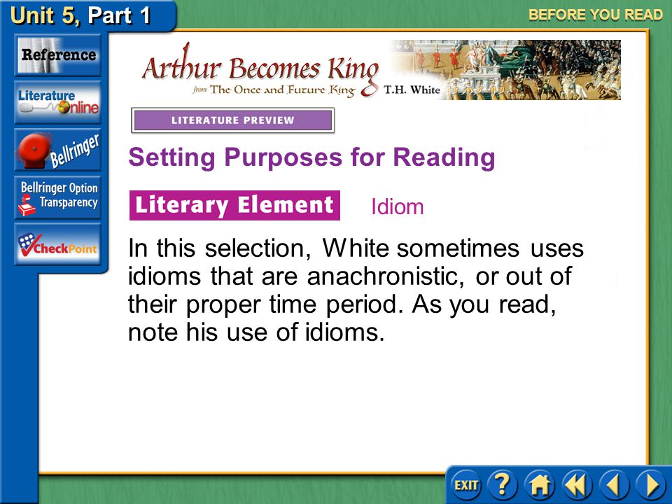 Unit 5, Part 1 Arthur Becomes King Setting Purposes for Reading BEFORE YOU READ An idiom is a phrase with a special meaning that is different from the