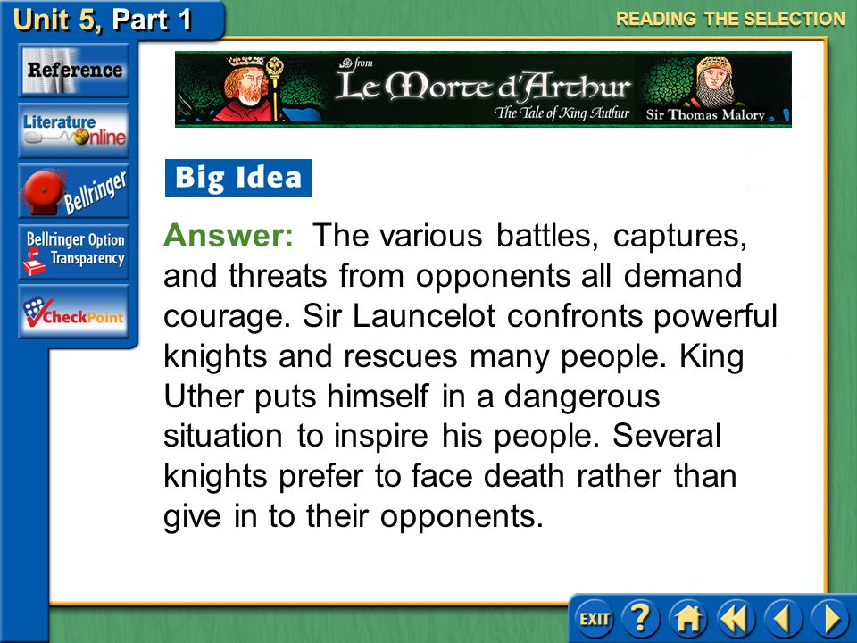 Unit 5, Part 1 Le Morte d'Arthur Acts of Courage Keep the following question in mind as you read. What situations develop that demand courage from the