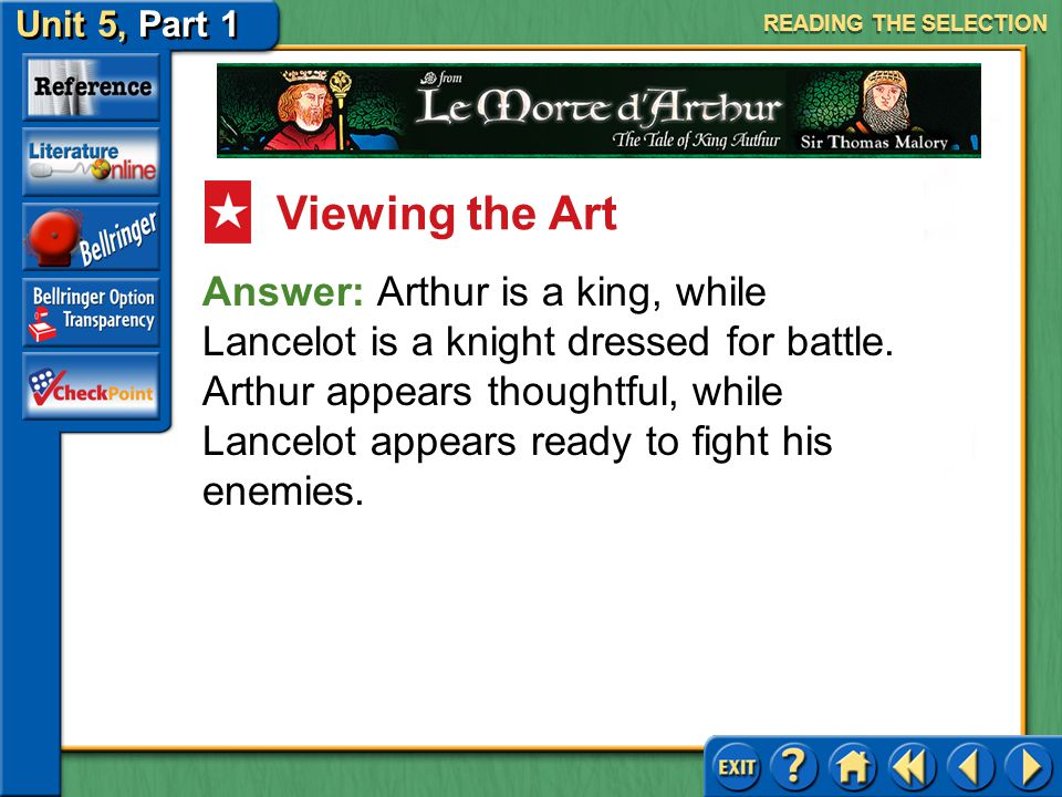 Unit 5, Part 1 Le Morte d'Arthur Look at the image on page 972 of Arthur on the left and Launcelot on the right. What can you tell about the differenc