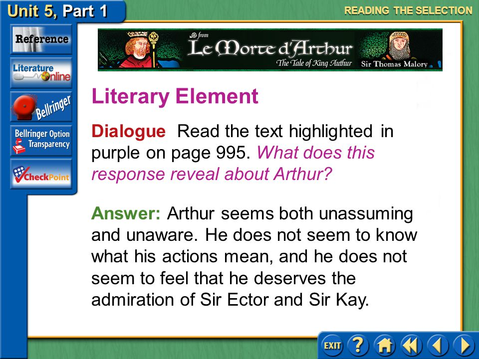 Unit 5, Part 1 Le Morte d'Arthur Analyzing Plot Read the text highlighted in blue on page 995. What conflict is being revealed here? Reading Strategy