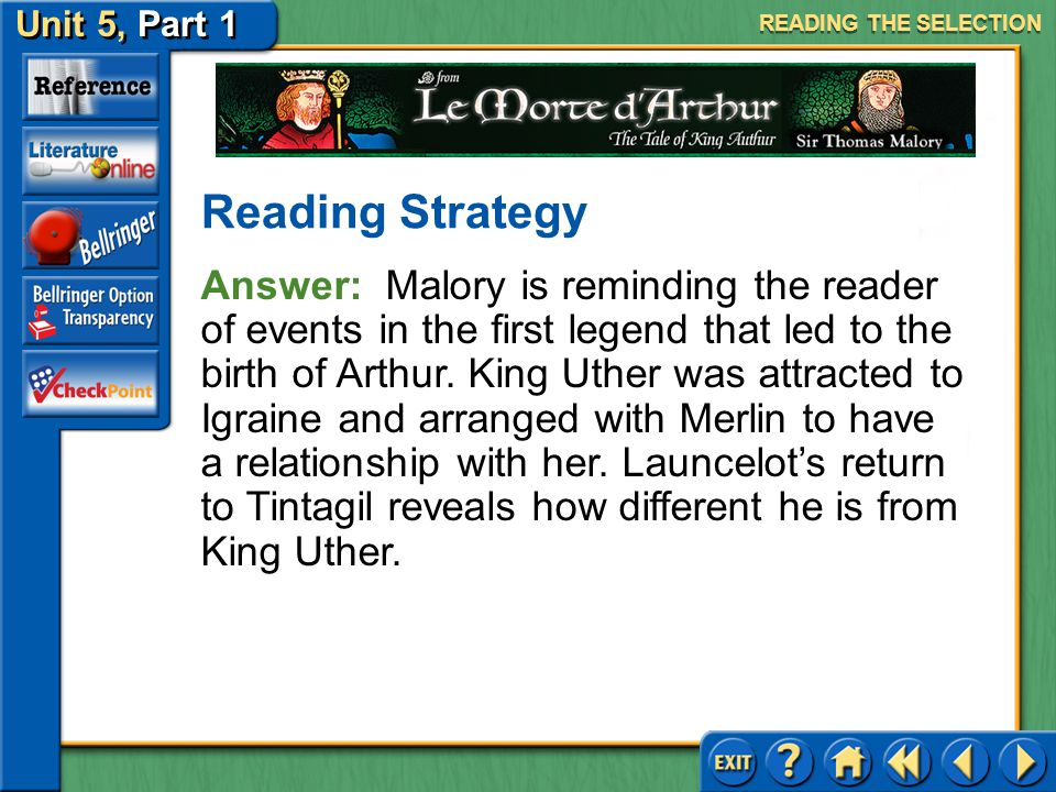Unit 5, Part 1 Le Morte d'Arthur Analyzing Plot Read the text highlighted in blue on page 1004. Why do you think Malory returns Sir Launcelot to Tinta