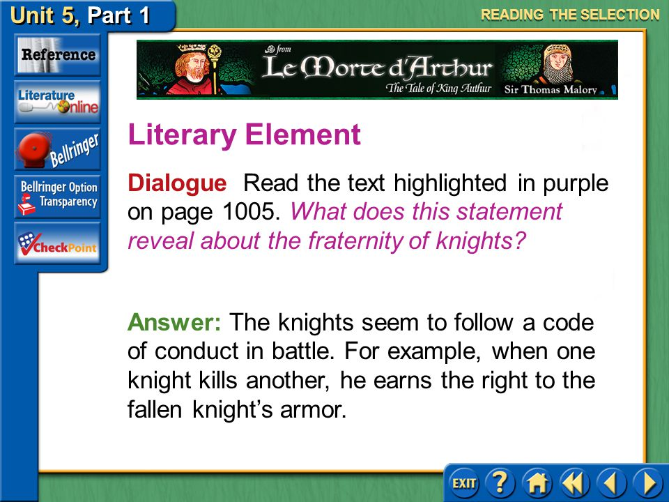 Unit 5, Part 1 Le Morte d'Arthur Answer: He has a strong sense of honor and duty and feels that he must always try to help someone out of an unfair si