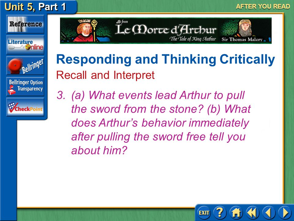 Unit 5, Part 1 Le Morte d'Arthur AFTER YOU READ Responding and Thinking Critically Recall and Interpret Answer: (a) Merlin asks for custody of the chi