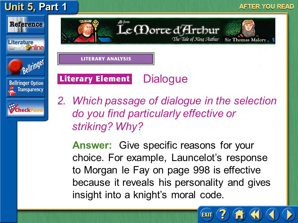 Unit 5, Part 1 Le Morte d'Arthur AFTER YOU READ Dialogue Answer: You may say that the dialogue shows the relationship between the men. 1.Reread the sc